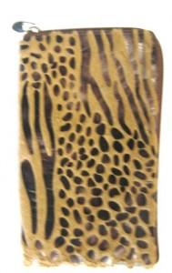 Сумка-кошелёк на молнии комби коричневая с мехом.