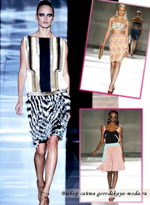 модные юбки средней длины лето 2012