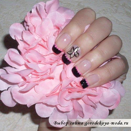 ногти черный френч