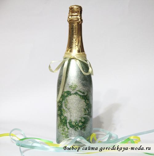 шампанское в технике декупаж
