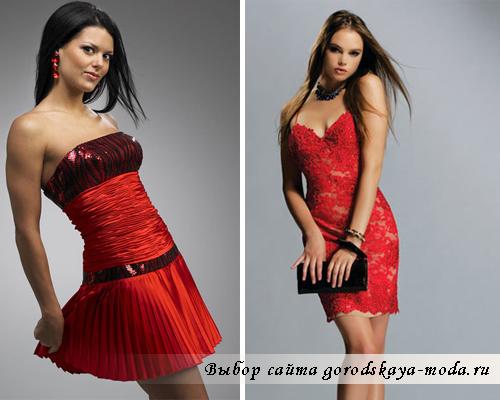 короткое красное платье фото