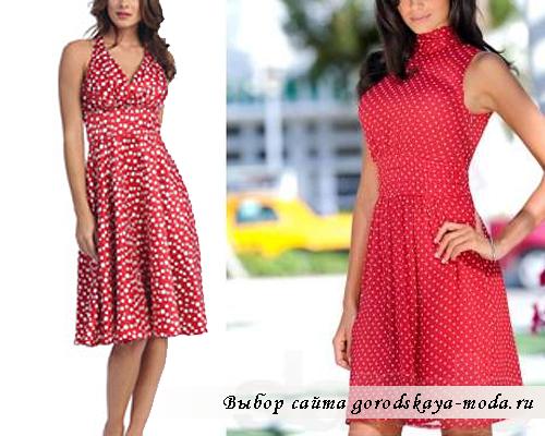 платье в горошек красного цвета