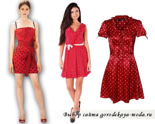 короткое красное платье в горошек фото