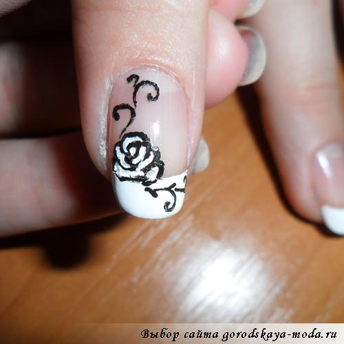 как нарисовать розочку на ногтях в домашних условиях