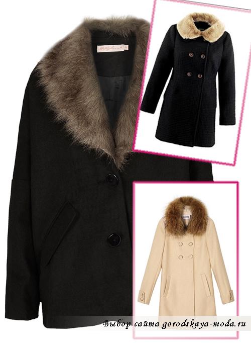 прямые  пальто с меховым воротником