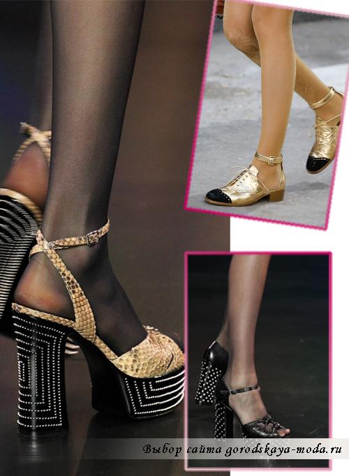 Широкий каблук в модных туфлях сезона весна-лето 2015