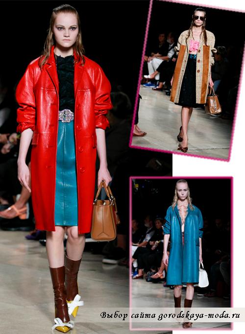 Модные кожанные пальто для женщин на весну 2015